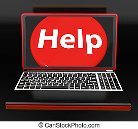 Help On Laptop Showing Helping Customer Assistance Helpdesk...