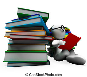 Student Reading Books Showing Learning And Studying
