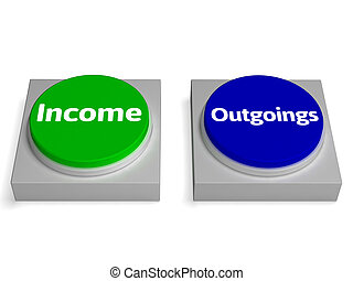 Income Outgoings Buttons Shows Profits Or Expenses - Income...