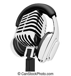 Mic And Headphones Shows Recording Studio Or Record - Mic...
