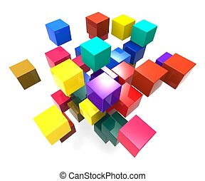 Exploding Blocks Showing Scattered Puzzle And Explosion