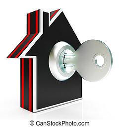 lar, e, tecla, mostra, casa, seguro, ou, trancadas