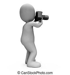 Digital Photo Character Shows Snapshot Dslr And Photography...