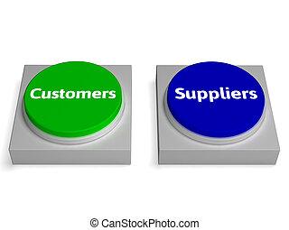 Customers Suppliers Buttons Shows Consumers Or Supplying -...