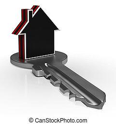 casa, ligado, tecla, mostra, lar, ou, real, propriedade