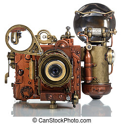 camera steampunk - Photo camera on a white background Style...