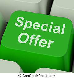 Special Offer Sign Shows Promotional Discount Online -...