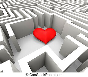 Finding Love Shows Heart In Maze - Finding Love And Romance...