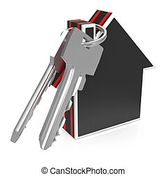 Keys And House Shows Home Security Or Protection