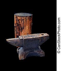 de madera, herrero, Yunque, aislado, cubierta