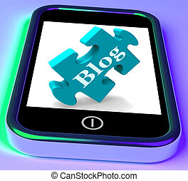 Blog On Phone Shows Mobile Blogging Or Weblog Website - Blog...