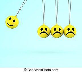 Happy And Sad Smileys Shows Emotions - Happy And Sad Smileys...