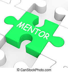 Mentor Puzzle Shows Mentoring Mentorship And Mentors -...