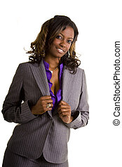 Beautiful Black Woman Hands on Grey Suit
