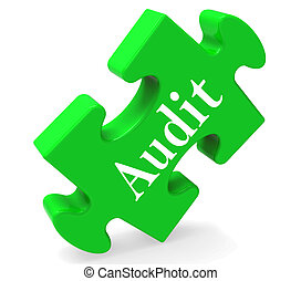 Audit Puzzle Shows Auditor Validation Scrutiny Or Inspection...