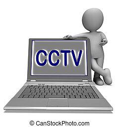 CCTV Laptop Shows Surveillance Protection Or Monitoring...