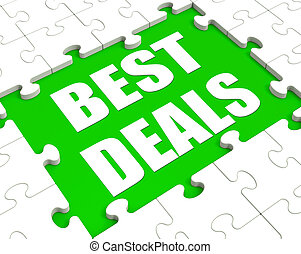 Best Deals Puzzle Shows Great Deal Promotion Or Bargain -...