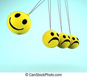 glücklich, und, traurige, Smileys, Ausstellung,...
