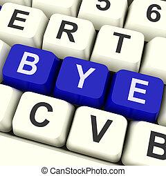 adiós, llave, exposiciones, Partir, o, salida