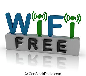 Free Wifi Shows Internet Connection And Mobile Hotspot -...