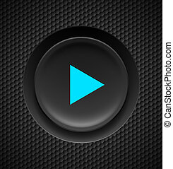 Play button. - Black button with blue play sign on carbon...