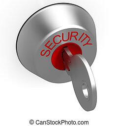 tecla, em, segurança, fechadura, mostrando,...