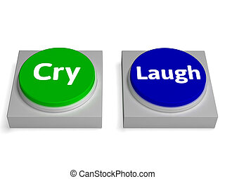 Cry Laugh Buttons Shows Crying Or Laughing - Cry Laugh...