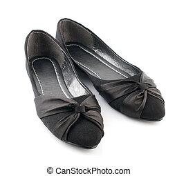 婦女, 黑色, 暫存工, 鞋子