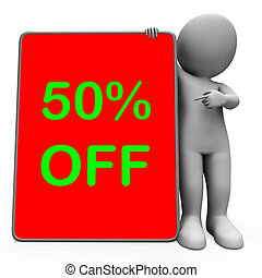 Fifty Percent Off Tablet Character Meaning 50 Reduction Or...