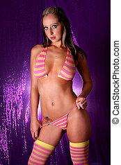 Sexy bikini girl - Sexy brunette girl posing in bikini.