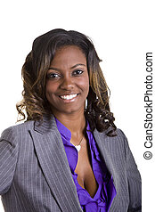 Young Black Woman in Nice Suit Smiling