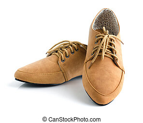 Casual brown leather unisex shoes - Casual brown leather...