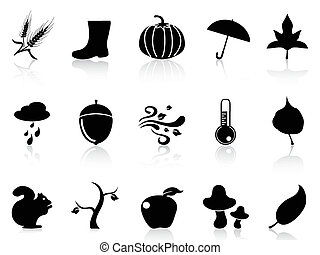 autumn icons set - isolated autumn icons set from white...