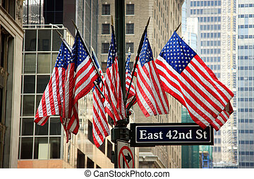 American flags in 42nd street - New York City, USA