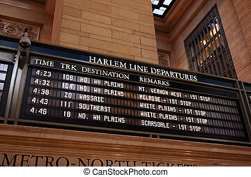 Train timetable - Harlem line departure timetable at Grand...