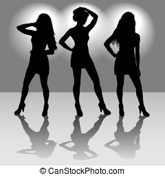 Silhouettes of three girls