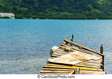 Old Pier - Old pier extending out into the Caribbean in San...