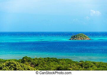 Island and Blue Sea - Small island near San Andres y...