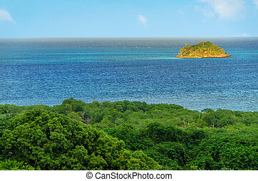 Island and Blue Water - Small Caribbean island as seen from...