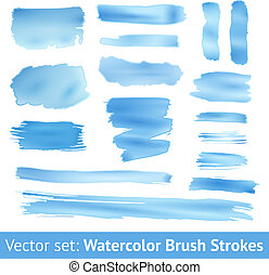 Set of blue watercolor brush stroke. Vector - Set of blue...