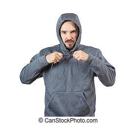 Adult man in hoody - Adult caucasian man in hooded...