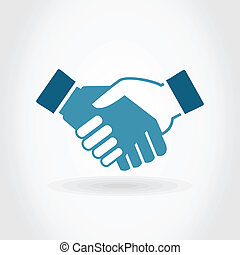 Hand shake on a grey background. A vector illustration