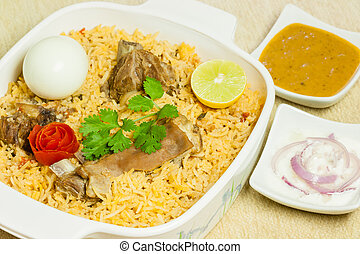 Mutton Biryani with Egg - Closeup view of delicious mutton...