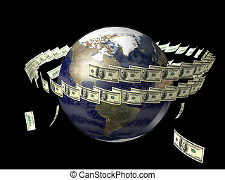 Earth with flying dollars around it - Earth globe with...