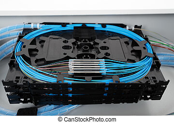 Fiber optic splice cassettes - stack of fiber optic splice...