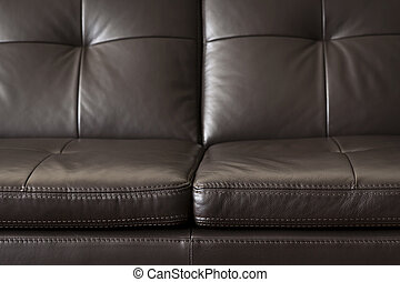 Leather sofa close up - Closeup of luxurious expensive brown...