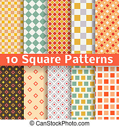 Different square vector seamless patterns tiling - 10...