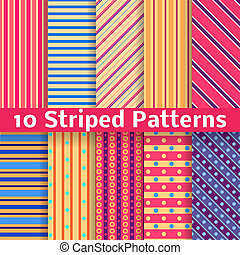 Different striped vector seamless patterns tiling - 10...