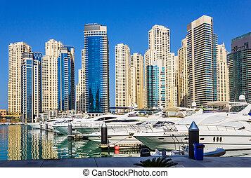 Yacht Club in Dubai Marina. UAE. November 16, 2012 - DUBAI,...