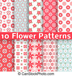 Different flower vector seamless patterns tiling - 10...